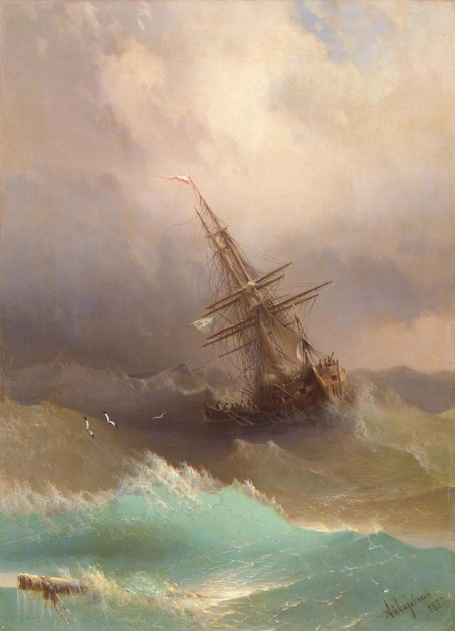 Hypnotizing Translucent Waves From 19th Century Russian Paintings -sea, paintings, ocean
