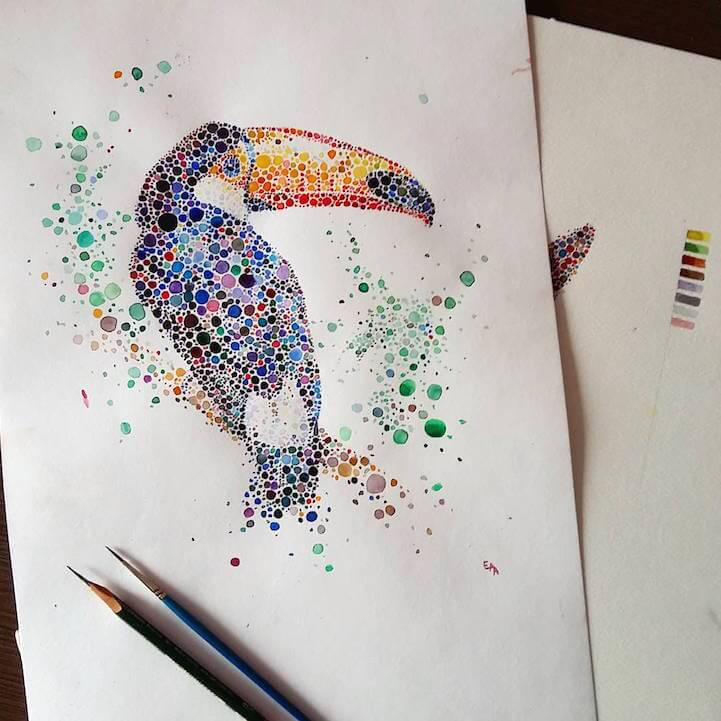 Artist Creates Animals from Hundreds of Multicolored Dots -pencil