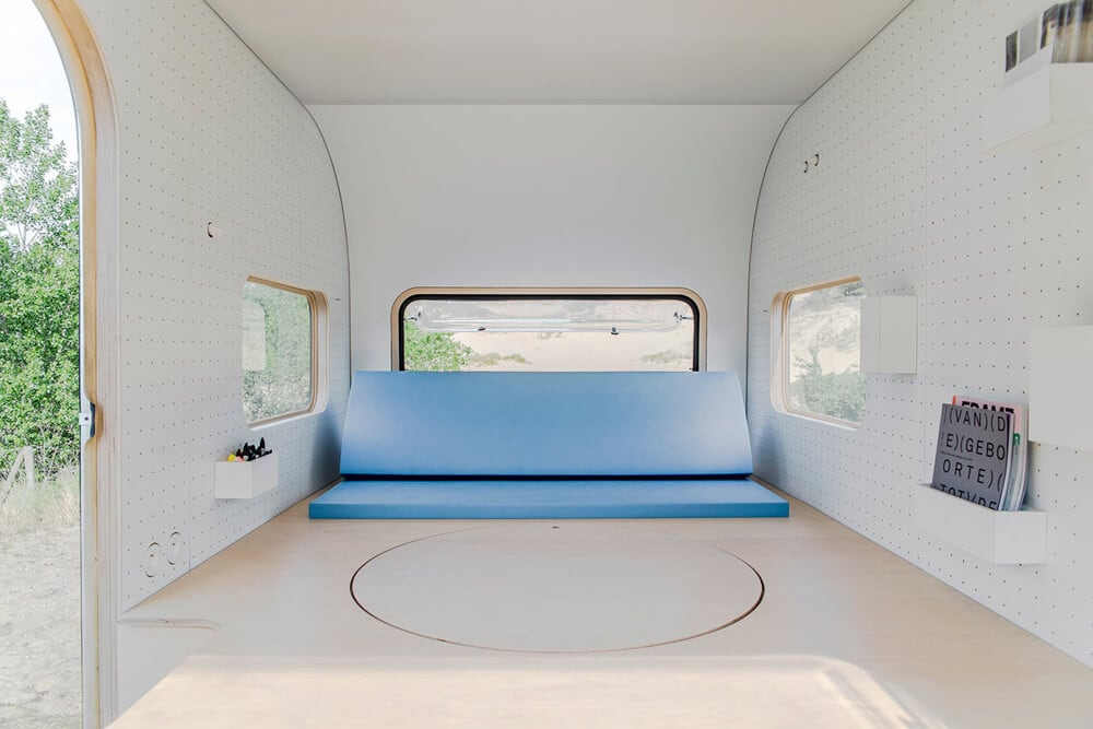 Compact Mobile Office on Wheels by FIVE AM -table, outdoors, office