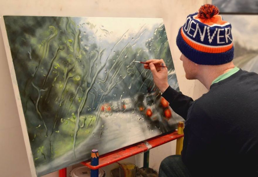 071 - Rainy Windshield Paintings On Canvas By Francis McCrory
