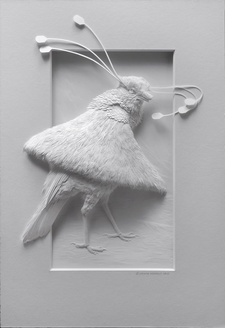 Calvin Nicholls' Gentle Paper Zoo Bridges the Gap Between 2D and 3D Art -paper-art, paper sculptures, paper, birds, animals