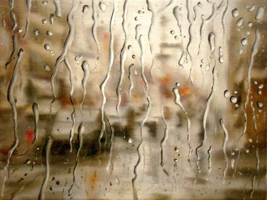 Rainy Windshield Paintings On Canvas By Francis McCrory -paintings, canvas