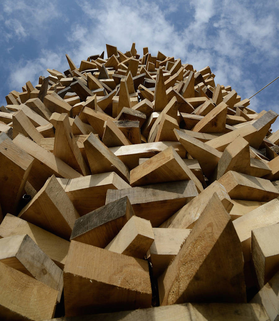 A Pavillion Made of Recycled Pieces of Wood -wood, russia, moscow, installation, architecture