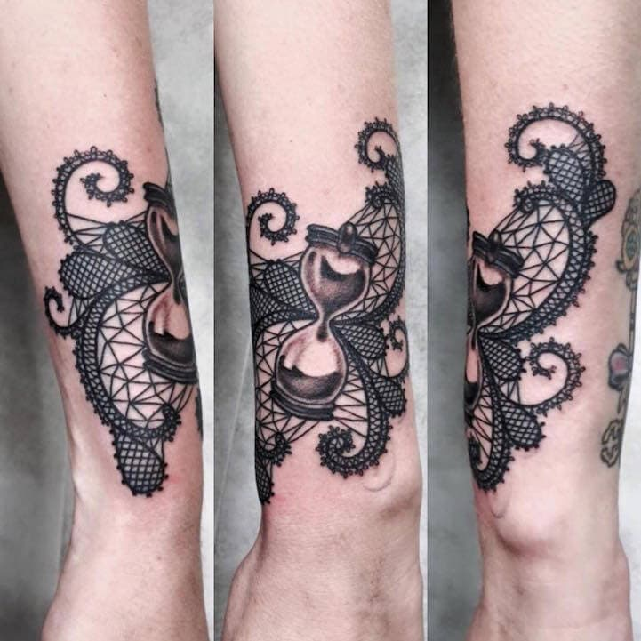 elegantly detailed tattoos mimic the delicate lacework of embroidery