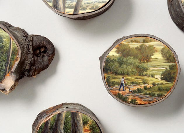 Stunning Paintings on Fallen Tree Logs Mirror Their Natural Origins -nature, landscape, environment, america