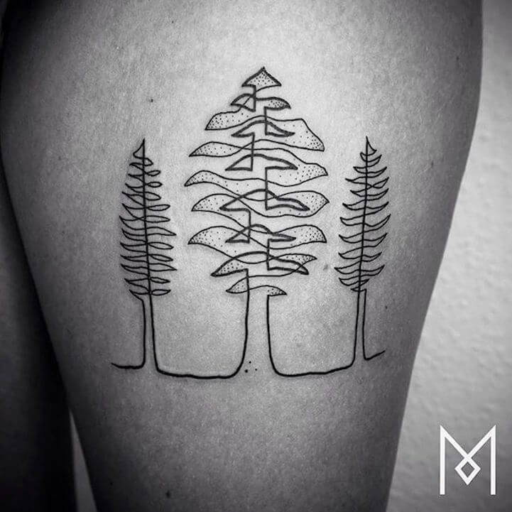 Tattoo Artist Uses One Continuous Line to Create a Beautifully Linear Tattoos -tattoo, black n white