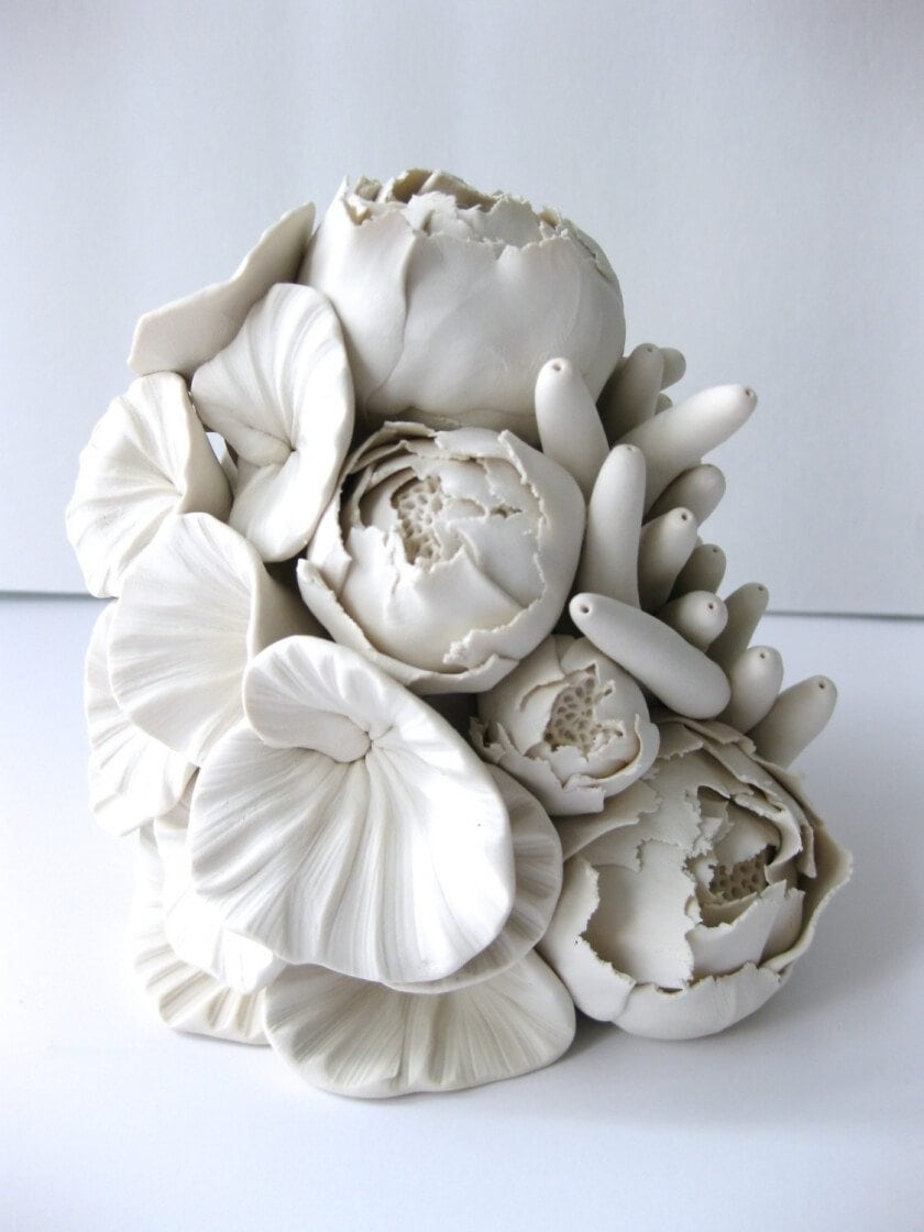 Handmade Polymer Flower Sculptures by Angela Schwer -sculpture, plants, interior design, ceramics