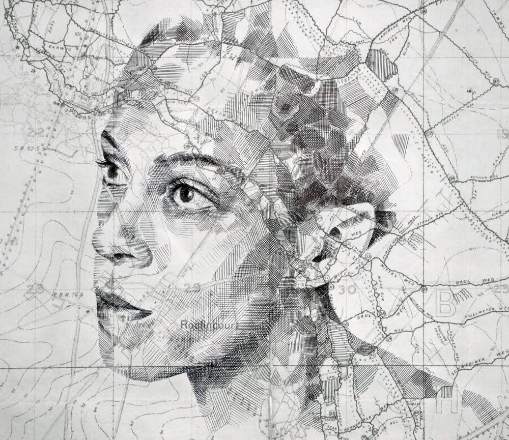 Portraits Illustrated on Maps and Star Charts by Ed Fairburn -portraits, maps