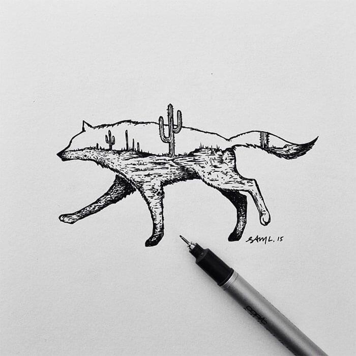 sam larson freeyork 10 - Miniature Illustrations Of Wild Animals Blended With Landscapes