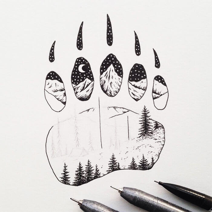 sam larson freeyork 11 - Miniature Illustrations Of Wild Animals Blended With Landscapes