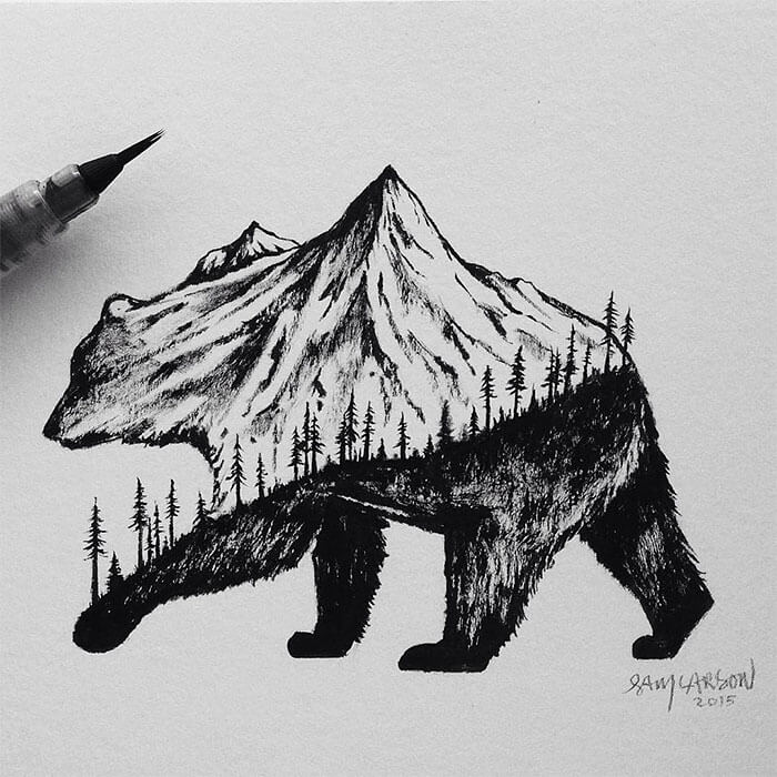 sam larson freeyork 3 - Miniature Illustrations Of Wild Animals Blended With Landscapes
