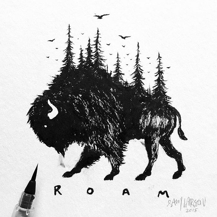 sam larson freeyork 5 - Miniature Illustrations Of Wild Animals Blended With Landscapes