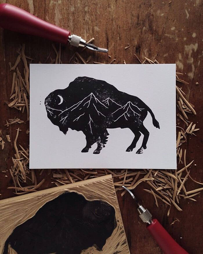 sam larson freeyork 7 - Miniature Illustrations Of Wild Animals Blended With Landscapes