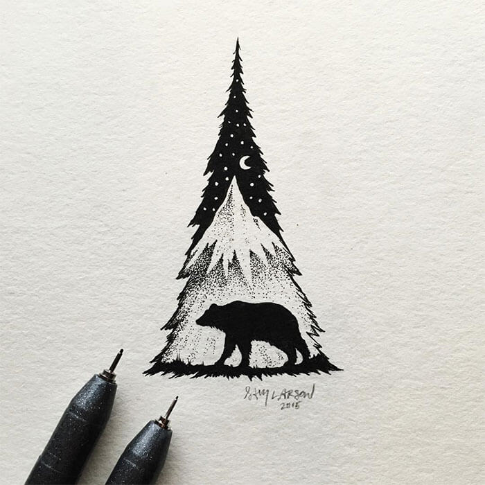 sam larson freeyork 8 - Miniature Illustrations Of Wild Animals Blended With Landscapes