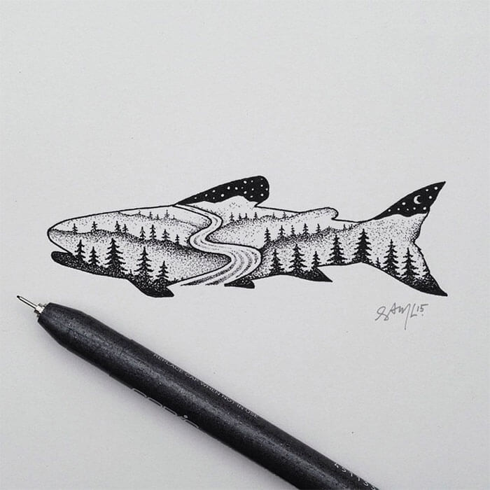 sam larson freeyork 9 - Miniature Illustrations Of Wild Animals Blended With Landscapes