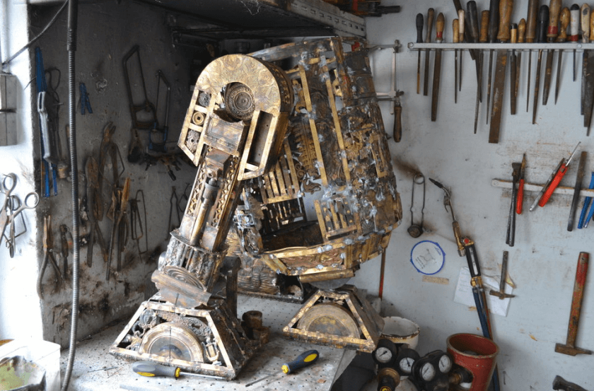 alain bellino star wars fy 7 - Sculptor Uses Dismissed Metal Objects To Create Star Wars Sculptures