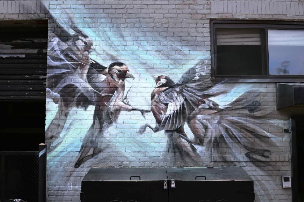 Artist's Huge Murals Feature Ghostly Images of Angels and Birds -mural, graffiti, feat