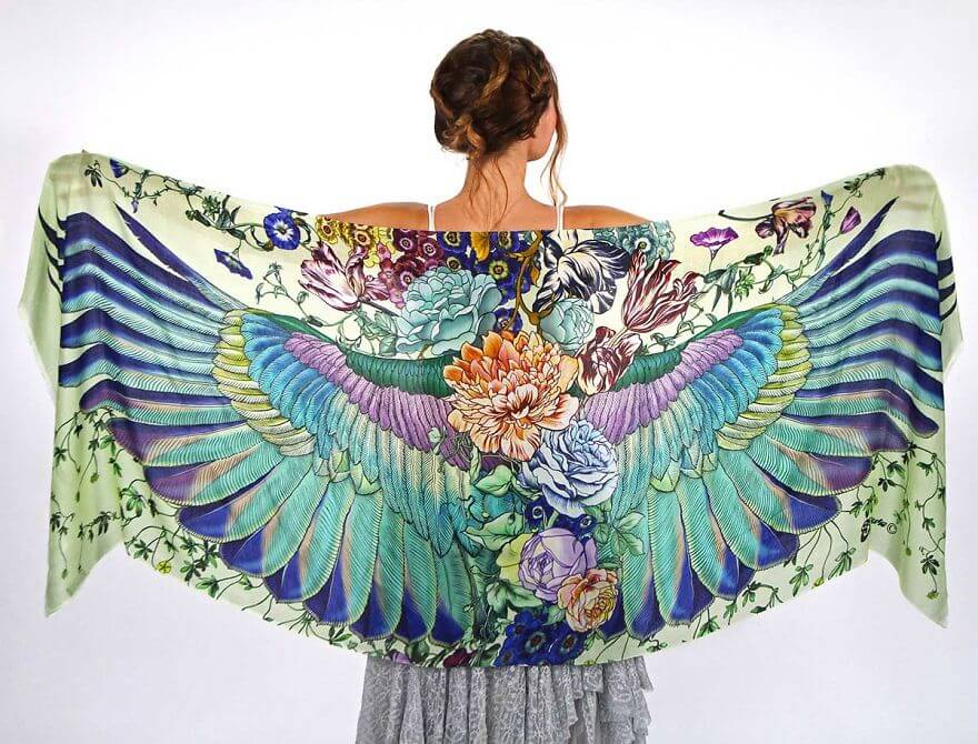Artist Creates Hand-Drawn Winged Scarves That Will Turn You Into A Bird -