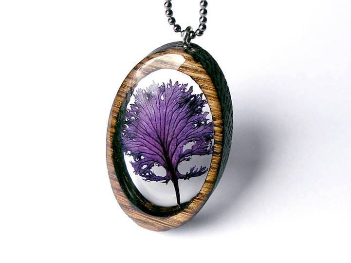 Artist Creates Foraged Pieces in Delicately Laser-Cut Wooden Pendants -nature, crafts