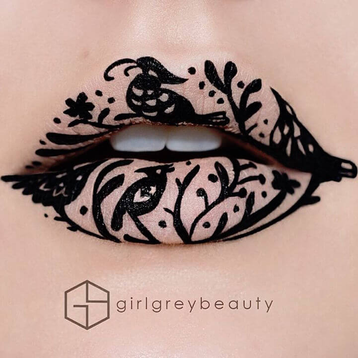 Artist Uses Her Lips as a Canvas for Detailed Works of Art -transformation, makeup, body art