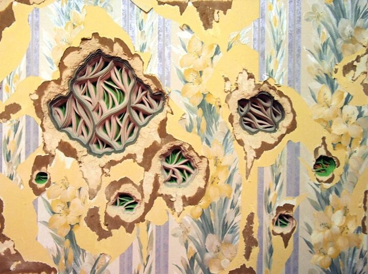 Carved Layers of Paper Revealed Behind Peeling Wallpaper -paper, feat