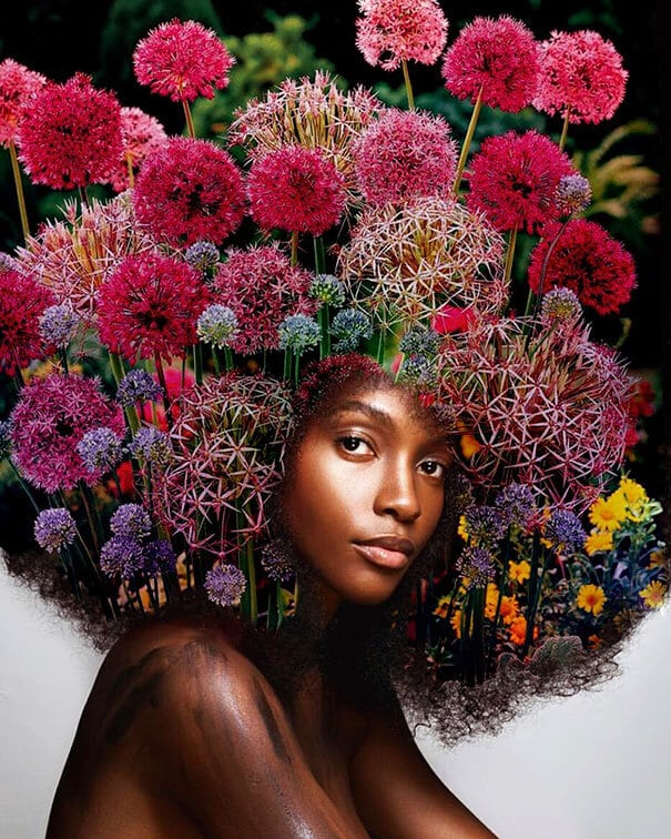 artist transforms afro hairstyles into flowery galaxies to. Black Bedroom Furniture Sets. Home Design Ideas