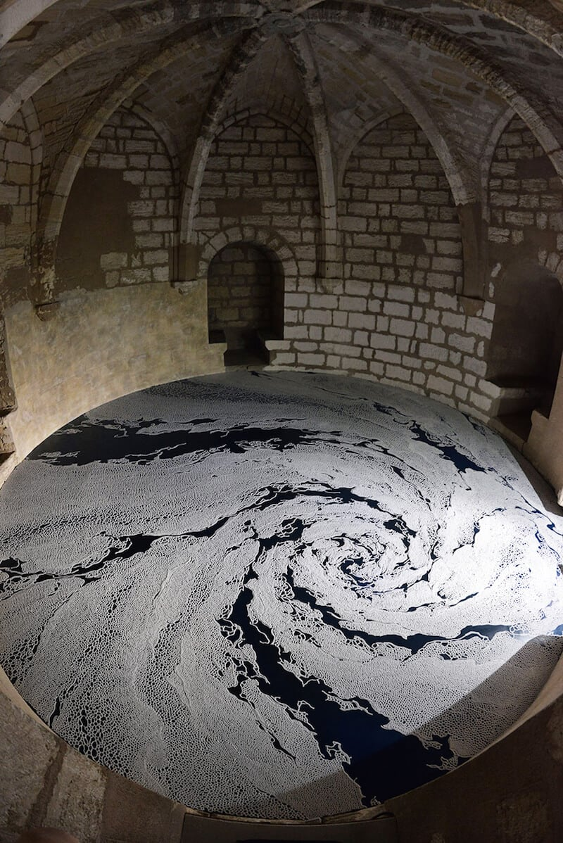 Labyrinths of Salt by Motoi Yamamoto Spread on Floor of a French Castle -salt, installation