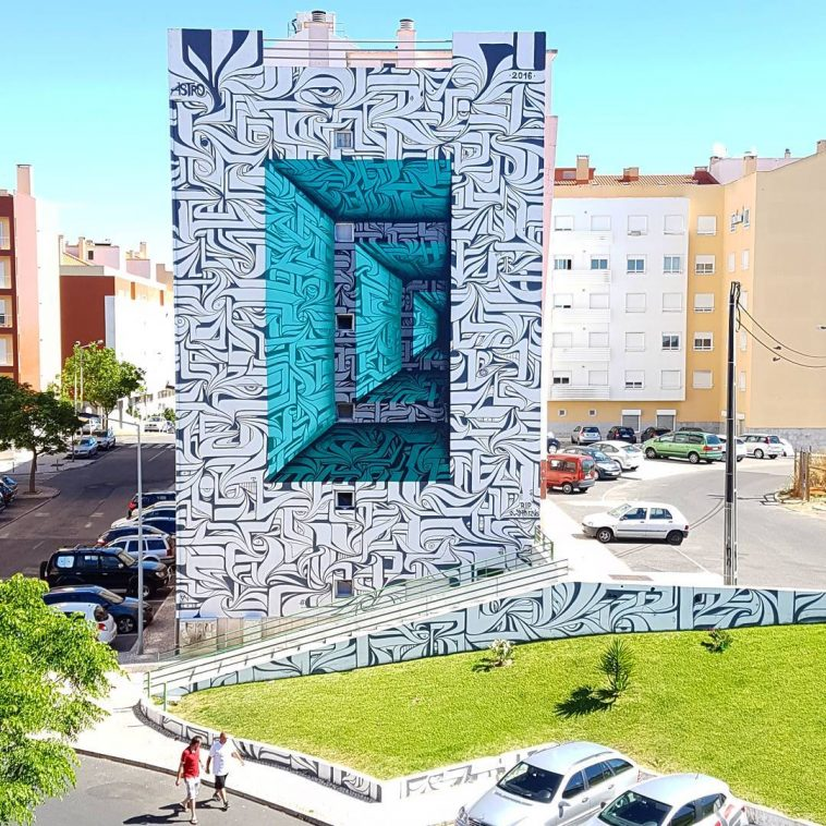 Optical Illusion Murals Turn Buildings into Portal to a Parallel Universe -street art, optical illusion, murals, mural, illusion, graffiti, calligraphy