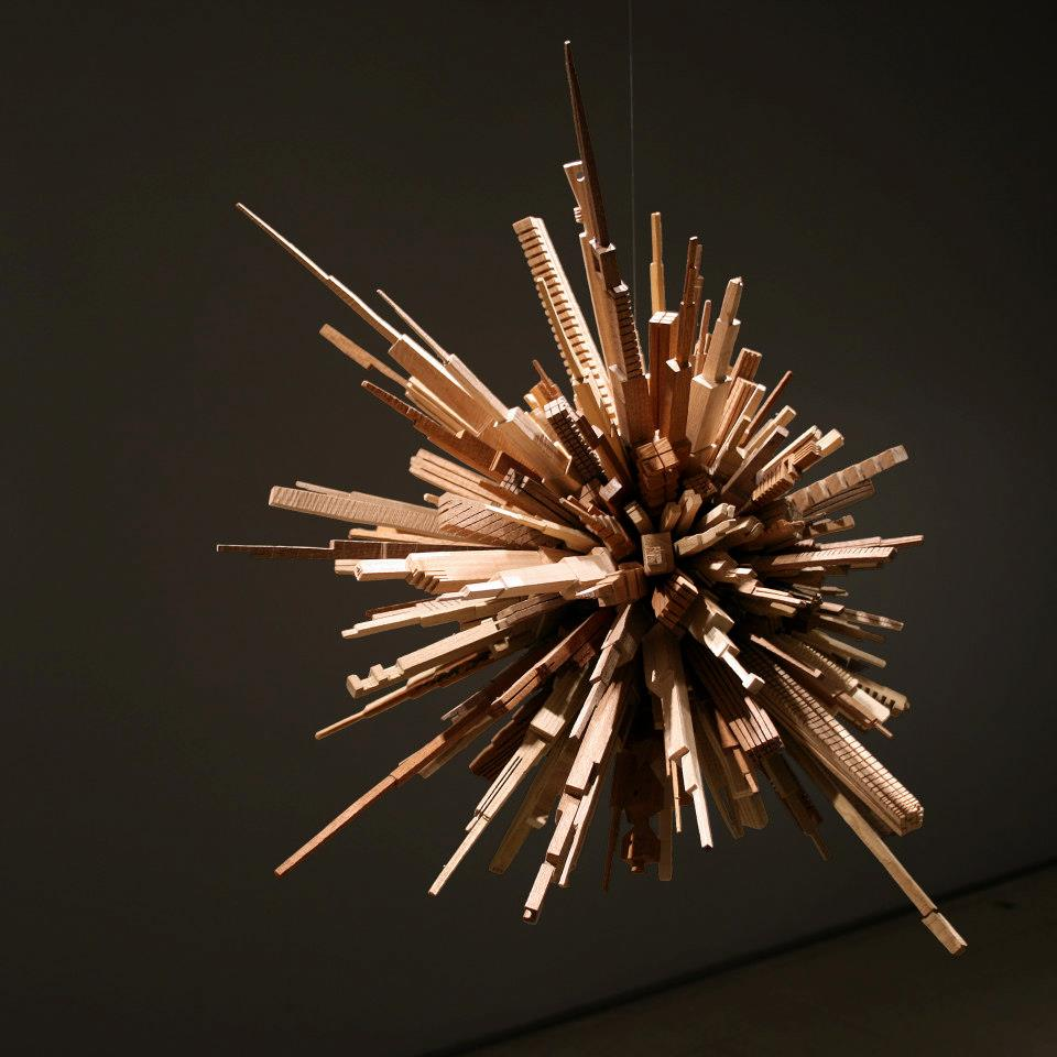 'The City Series', Stunning Distorted City Sculptures Crafted From Scrap Wood -sculptures, installation, city