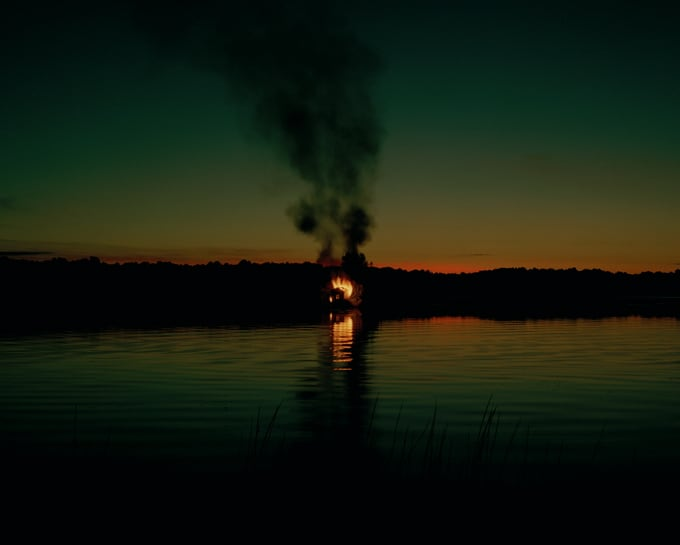 An Eternally Burning House Engulfed in Flames -photo-series, lake, house