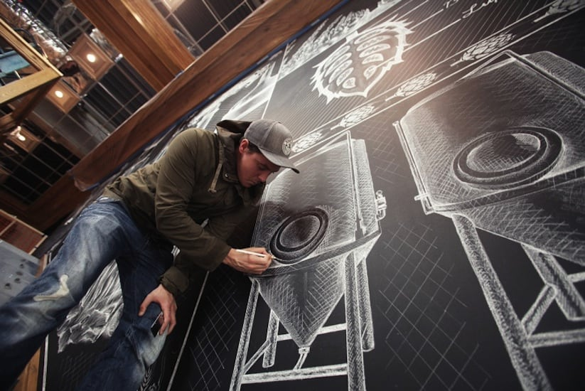 Amazing Chalk Mural At A Beer Brewery by Ben Johnston in Asheville // North Carolina -murals, beer