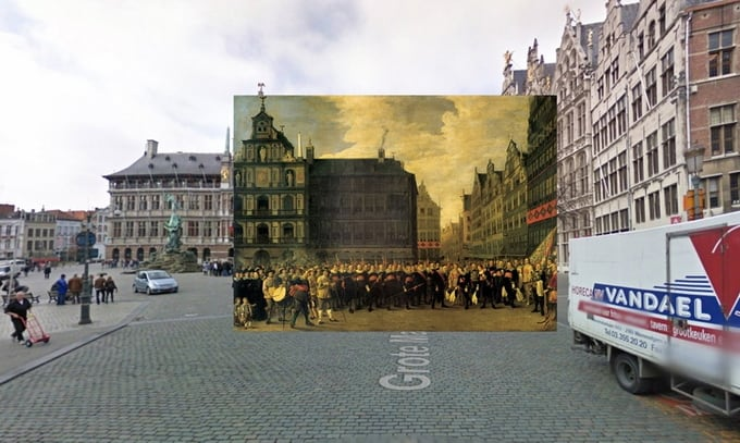 Classic Paintings of World Cities Meet Google Street View -paintings, google