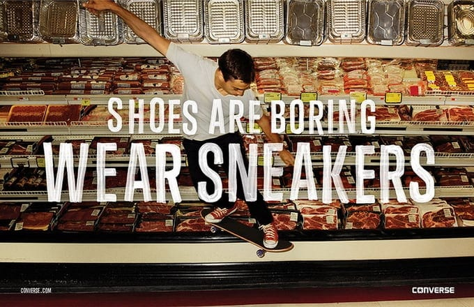 """Converse states """"Shoes Are Boring. Wear Sneakers"""" -sneakers, shoes, advertising campaign"""