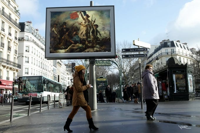 """""""OMG"""" A Street Artist in Paris Steals Ads and Replaces Them With Classical Paintings -"""