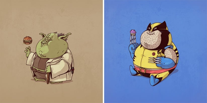 Chubby Pop Culture Icons – The Famous Chunkies by Alex Solis -superheroes, illustrations
