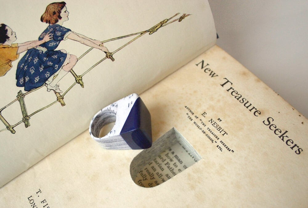 Jeremy May Transforms Vintage Books  Into Layered Jewelry -rings, paper, jewelry, fashion, books
