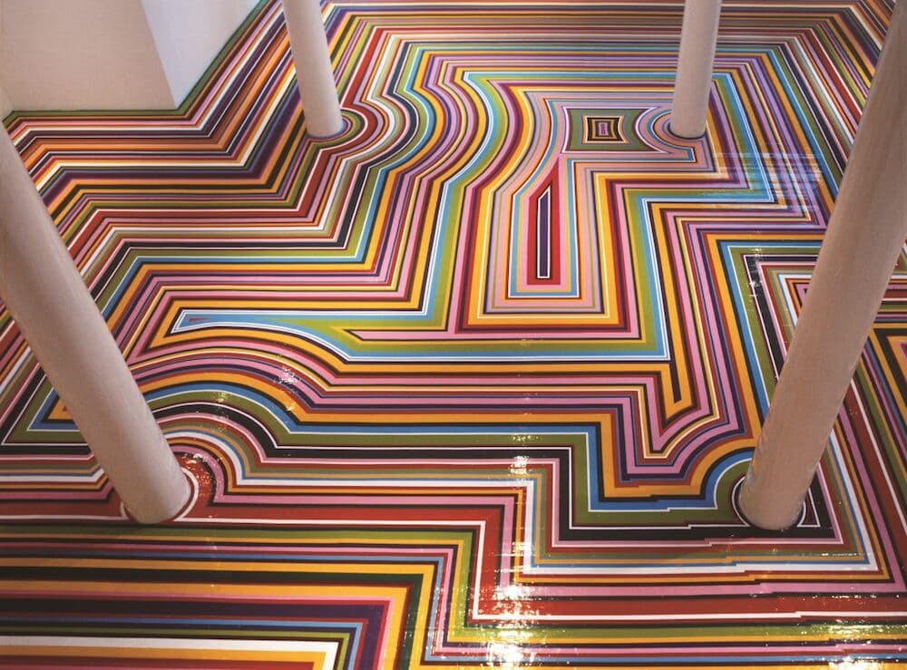 Mesmerizing Vinyl Rainbow Tape Floor Installations -tape, installation