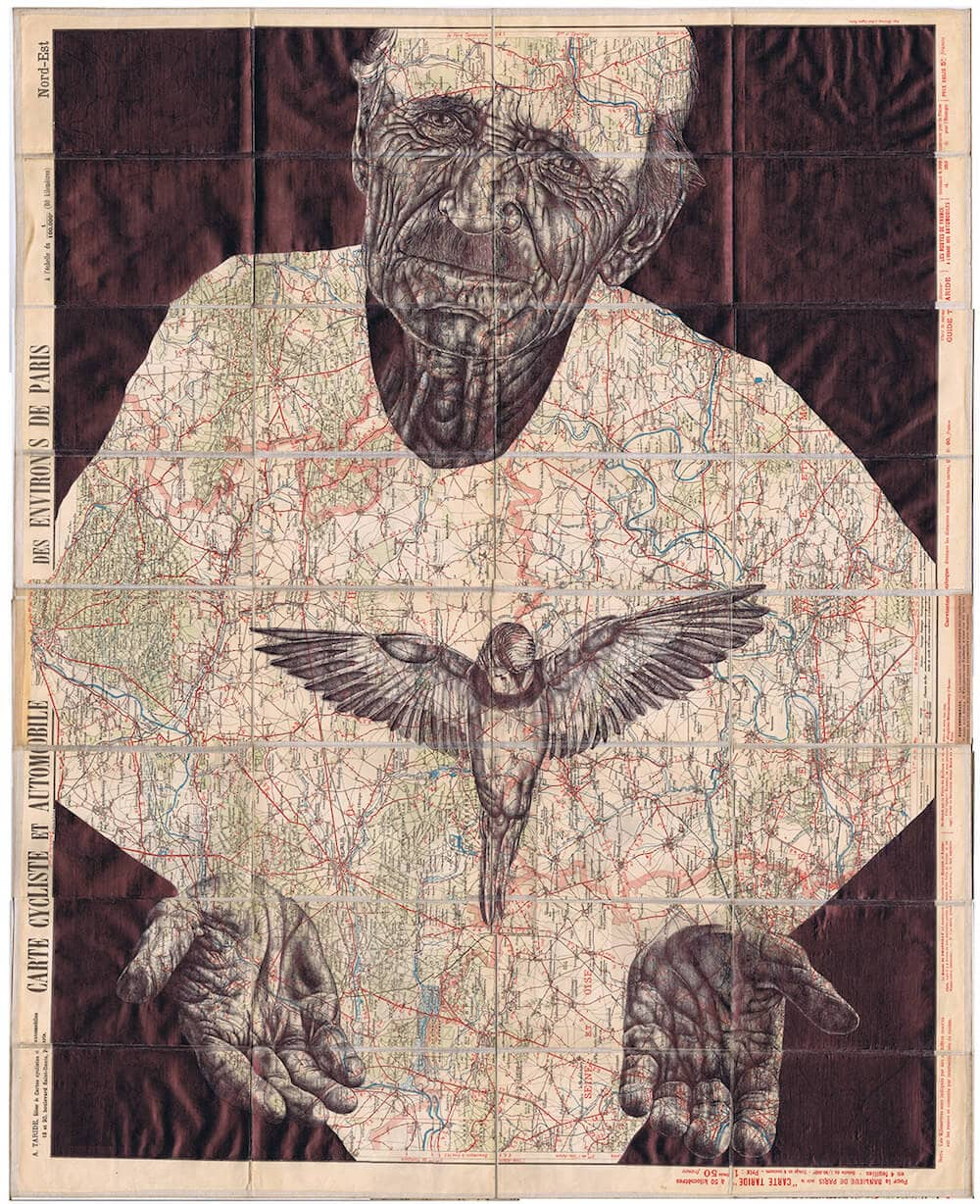 Ballpoint Pen Illustrations on Vintage Maps by Mark Powell -portraits, paper, maps, birds