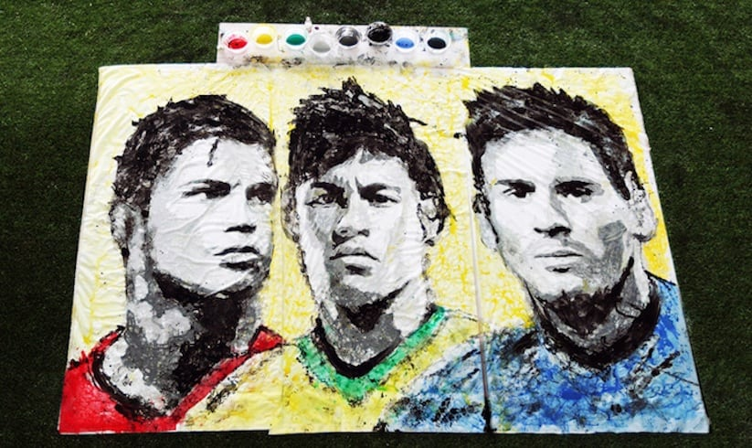 Portraits of World Cup Superstars Painted Only By Feet and Soccer Ball -