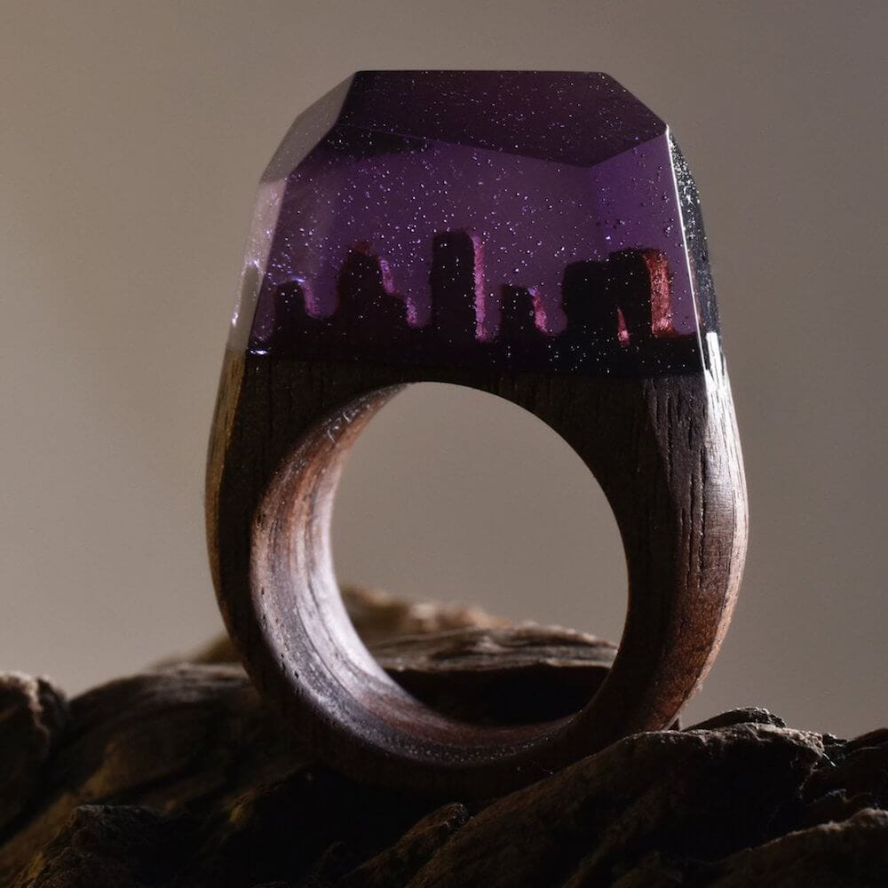 Ethereal Worlds Enclosed In Wood and Resin Rings -rings, resin, jewelry
