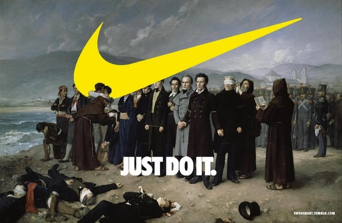 Famous painting and Nike's logo -painting, nike, italian, famous, designer, collage