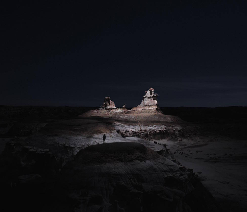 Drones with LED Lights Illuminate Landscapes at Night -night, landscape