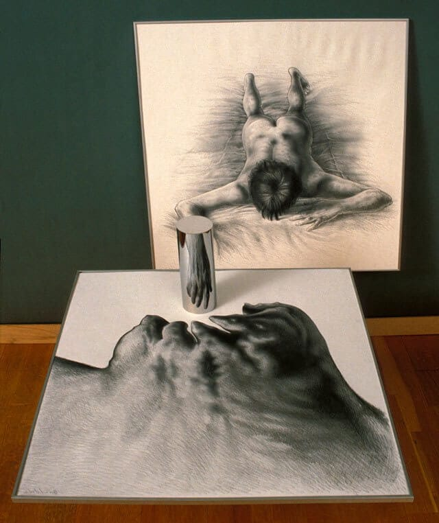 István Orosz' Anamorphic Art Come to Life When You Place a Mirror On It -illusion