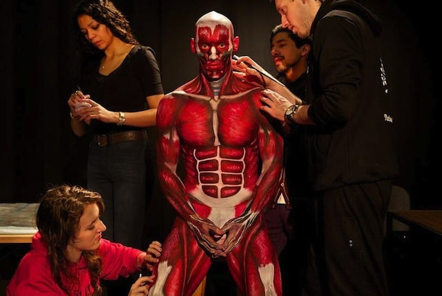 Australian Students paint Anatomical Man into Human Textbook -bodypainting, anatomy