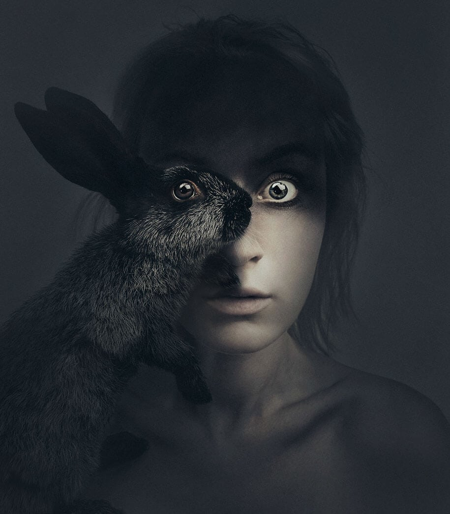 Self-Portraits Replace One Eye With An Animal's Eye -surreal, self-portrait, portraits, portrait photography, animals