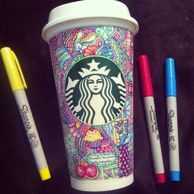 Artist Covers Starbucks Cups With Colorful Creations -cups, colorful