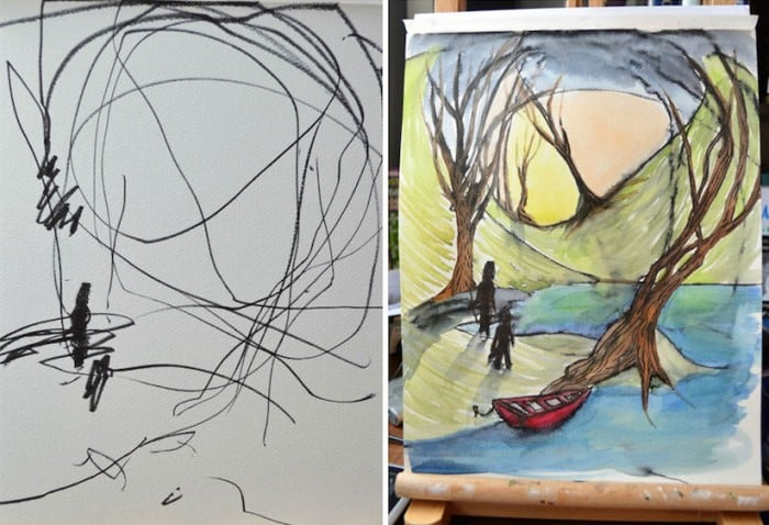Mom transforms Toddlers Ink Sketches into Beautiful Paintings -paintings, ink, drawings