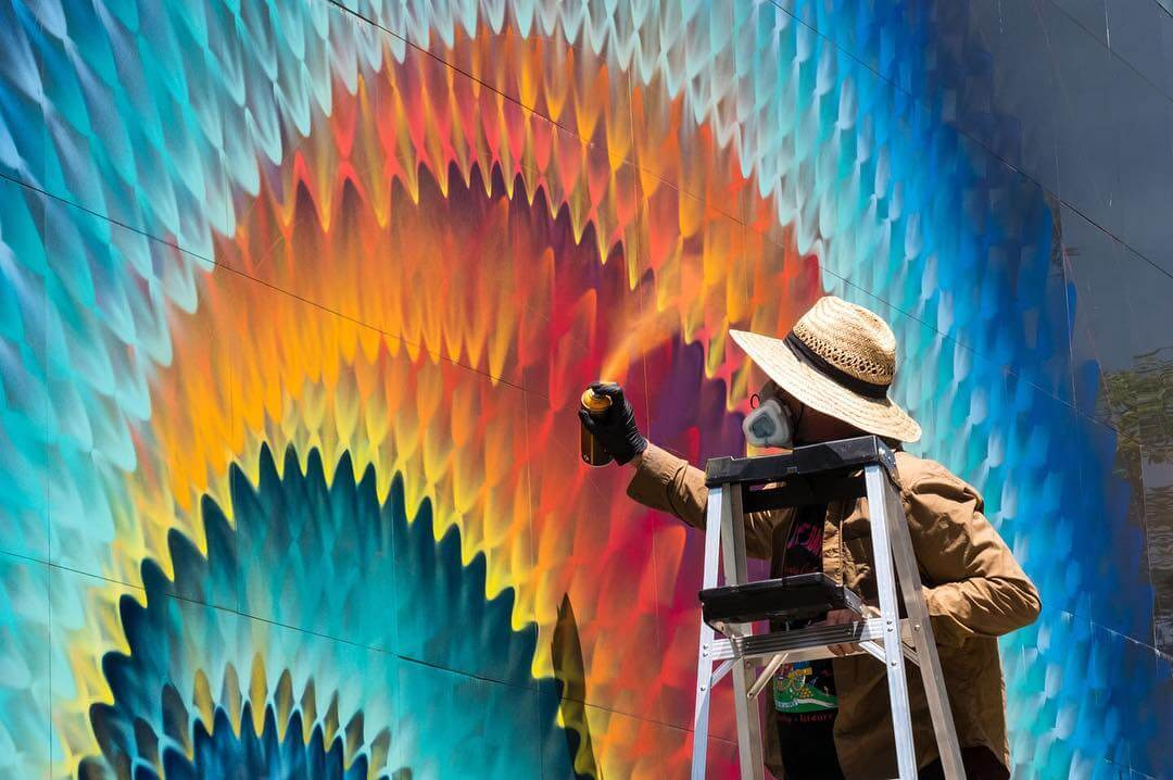 Rippled Murals of Color by HOXXOH -street art, murals