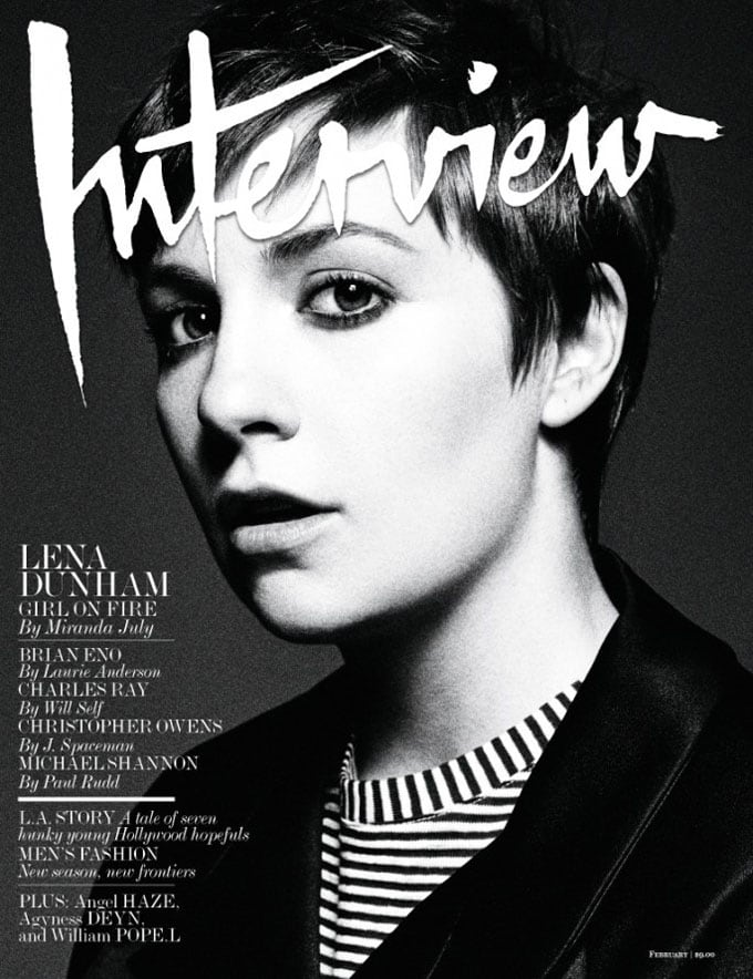 Lena Dunham Covers 'Interview' Magazine February 2013 -photo session, interview, black and white