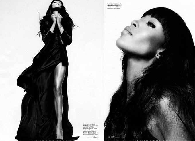 Naomi Campbell for Elle February 2013 -Thomas Whiteside, photo session, Naomi Campbell, Elle US, black and white